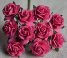 1.5cm DEEP PINK Mulberry Paper Roses